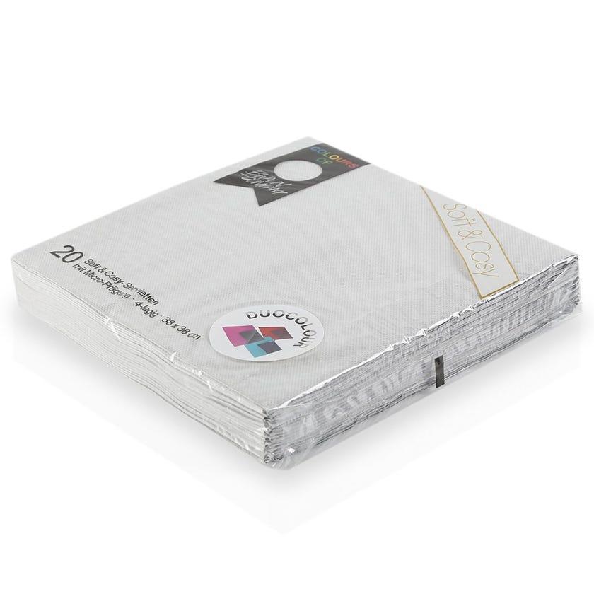 Cosy Paper Napkin - White/Black, 38 x 38 cms
