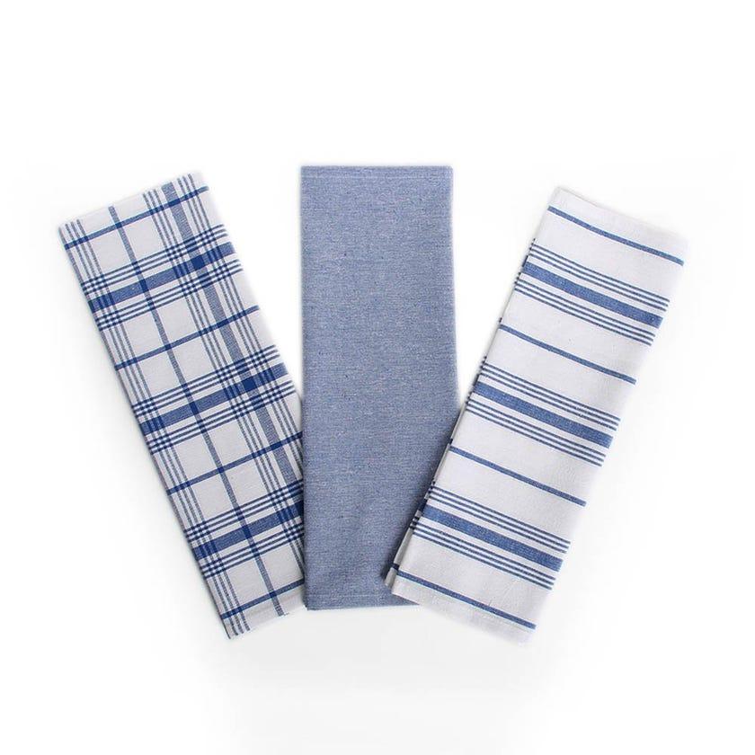 Prime Kitchen Towels, Blue & White - Set of 3
