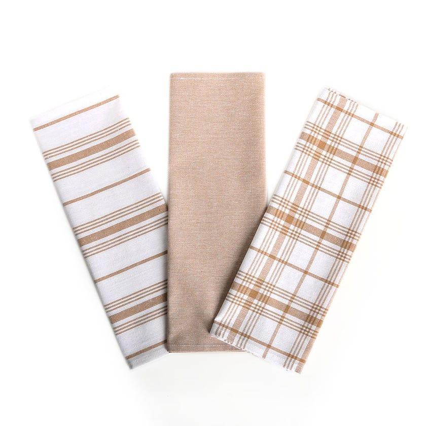 Indigo Kitchen Towels, Beige & White - Set of 3