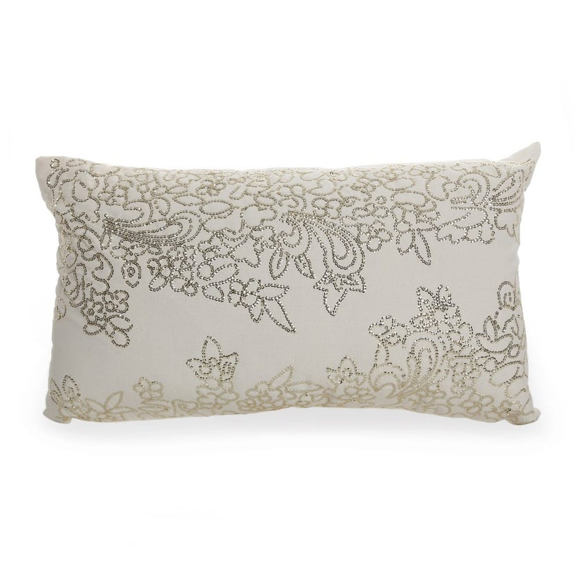 Filled Cushion (Ivory and Gold, Cotton, 30 x 50 cms)