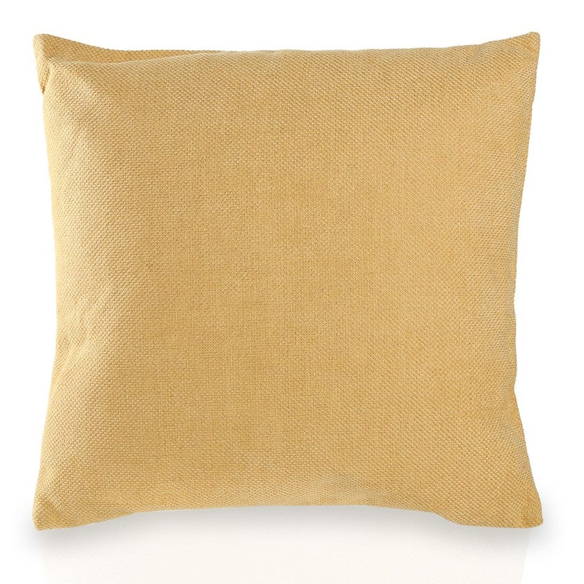 Small Chenille Cushion (Mustard, Polyester, 45 x 45 cms)