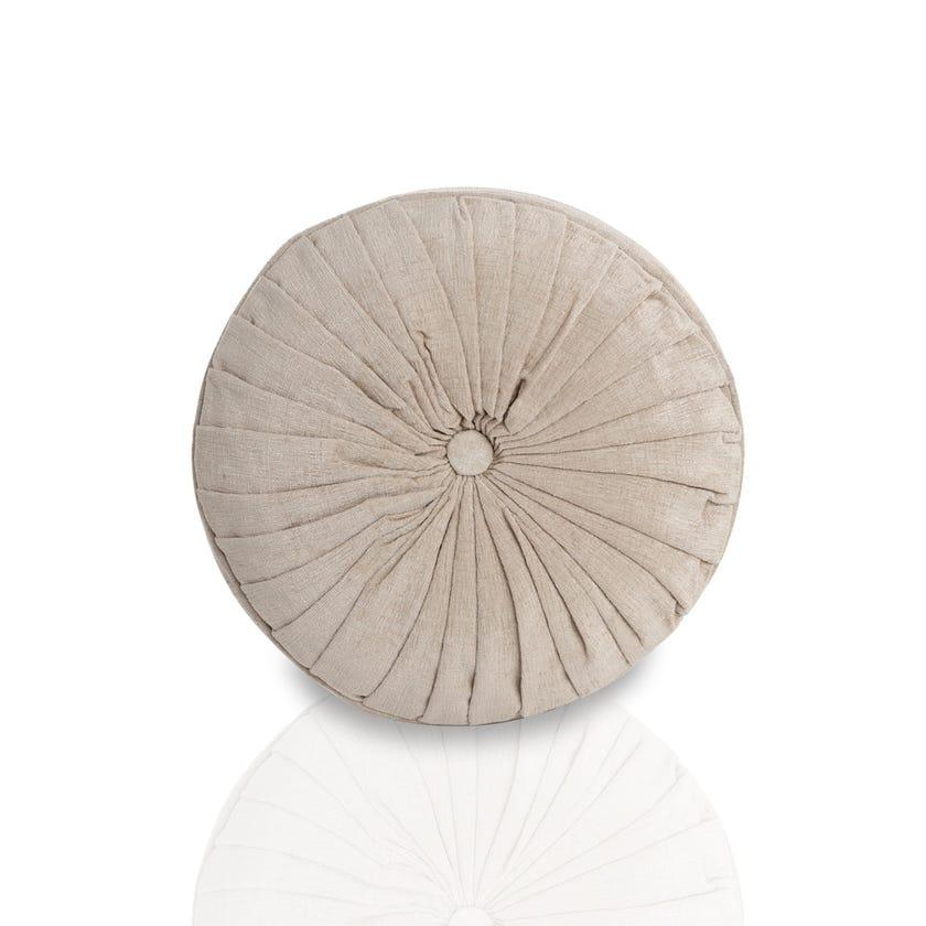 Round Chenille Cushion (Cream, Polyester, 40 x 40 cms)
