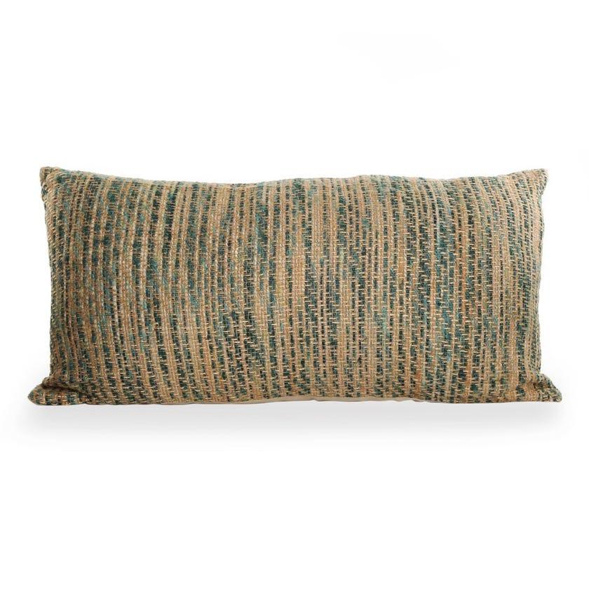 Aysa Knit Cushion Cover Filler, Natural and Green – 40x80 cms