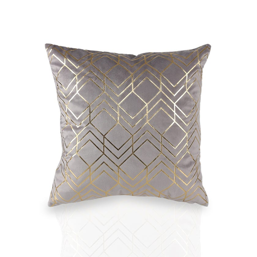 Knife Edge Printed Cushion Cover (Mauve, Polyester, 45 x 45 cms, 1-Piece)