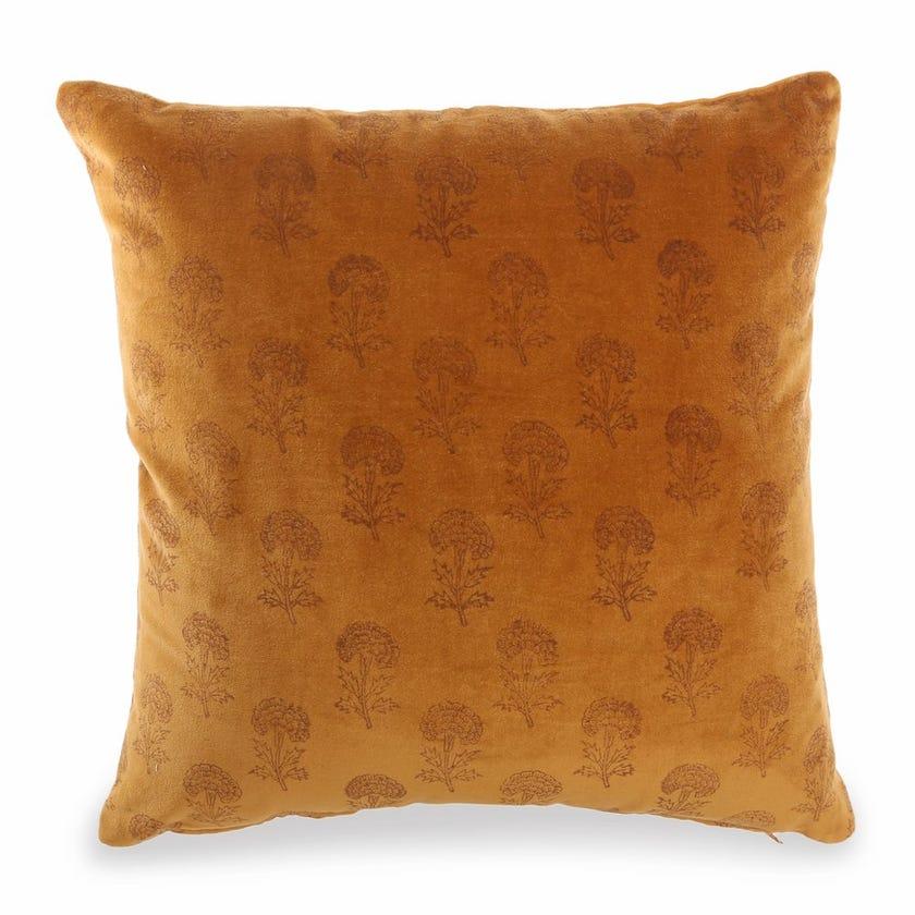 Bloom Velvet Cushion Cover, Mustard – 45x45 cms