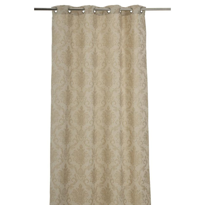Tweedy Polyester Grommet Curtain, 140 x 240 cms, Taupe