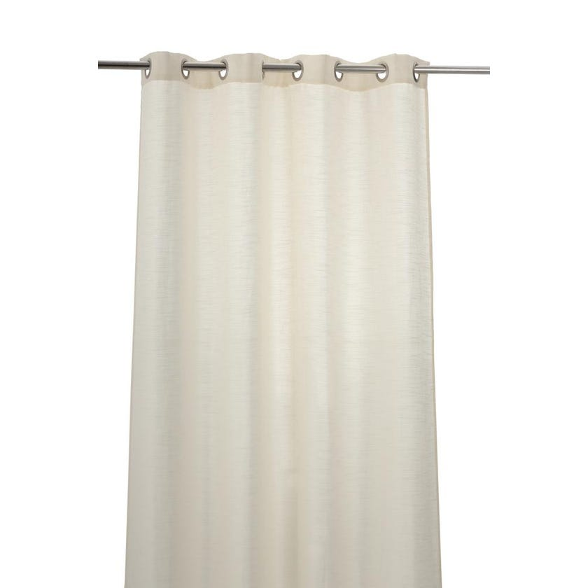 Geo Polyester Grommet Curtain, 140 x 240 cms, Ivory