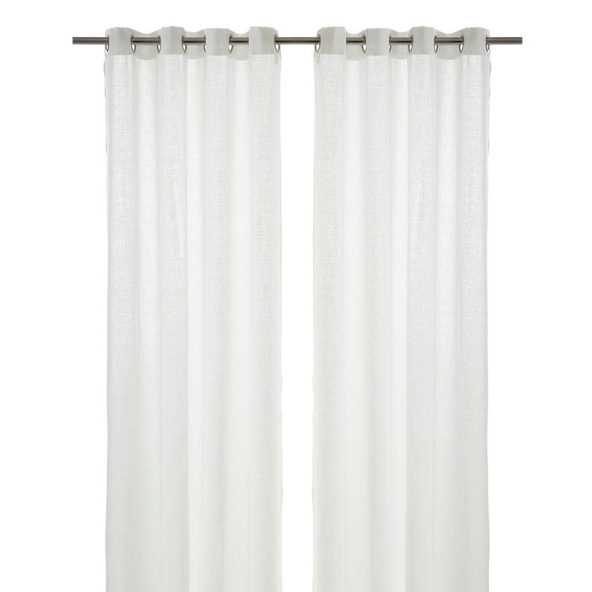 Sequin Polyester Grommet Curtain, 140 x 300 cms, White