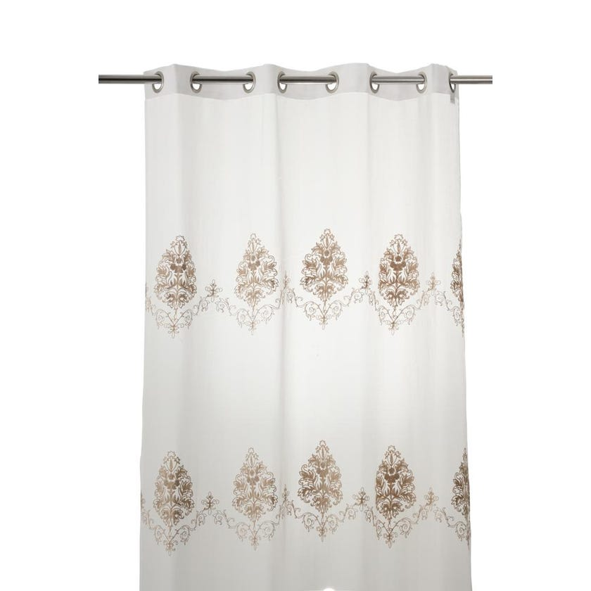 Cleopatra Polyester Grommet Curtain, 140 x 240 cms, Taupe