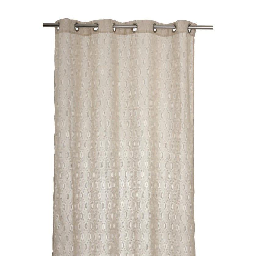 Vermonth Polyester Grommet Curtain, 140 x 300 cms, Beige