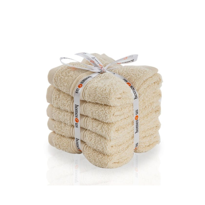 Chroma 5-Piece Cotton Face Towel Set, Cream - 30 x 30 cms