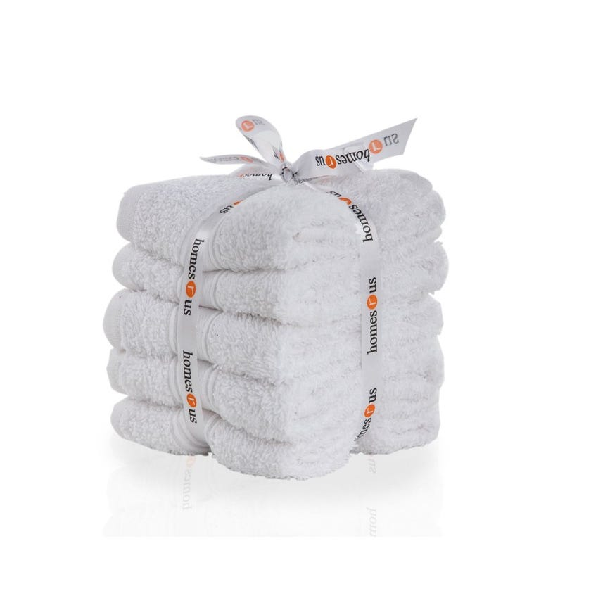 Chroma 5-Piece Cotton Face Towel Set, White - 30 x 30 cms
