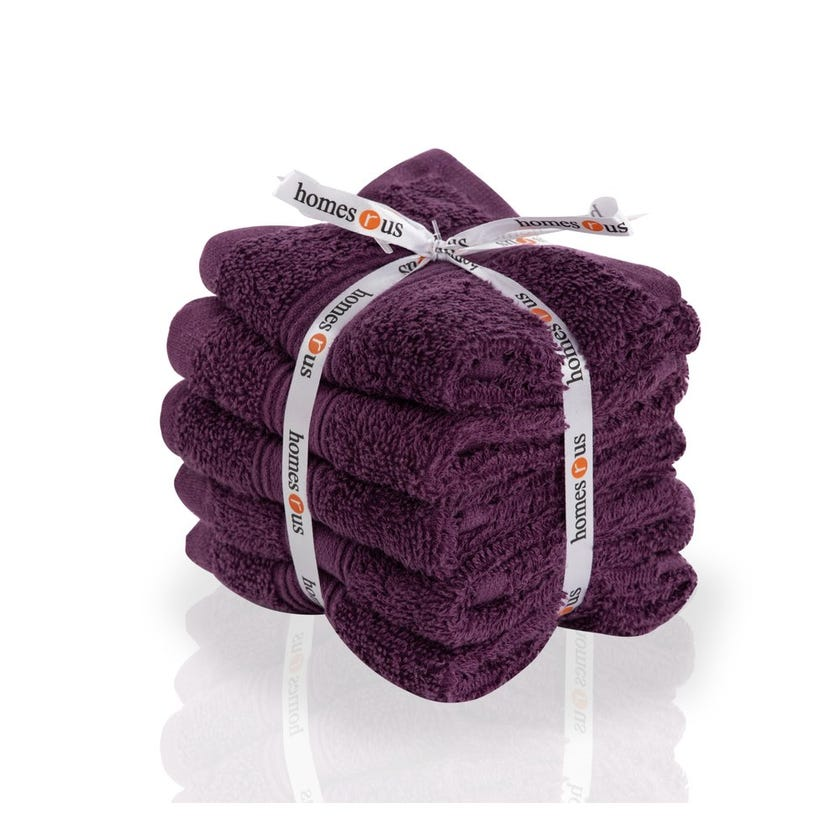 Chroma 5-Piece Cotton Face Towel Set, Purple - 30 x 30 cms
