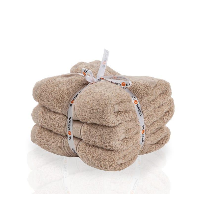 Chroma 3-Piece Cotton Hand Towel Set, Taupe - 40 x 60 cms