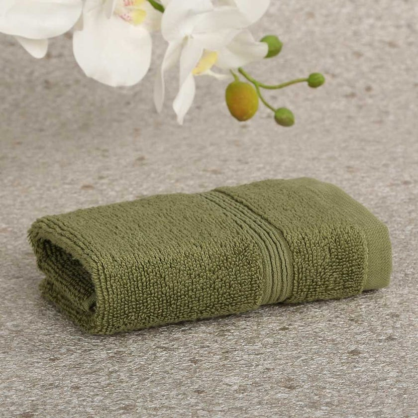 Ritzy Cotton Face Towel, Green - 30x30 cms