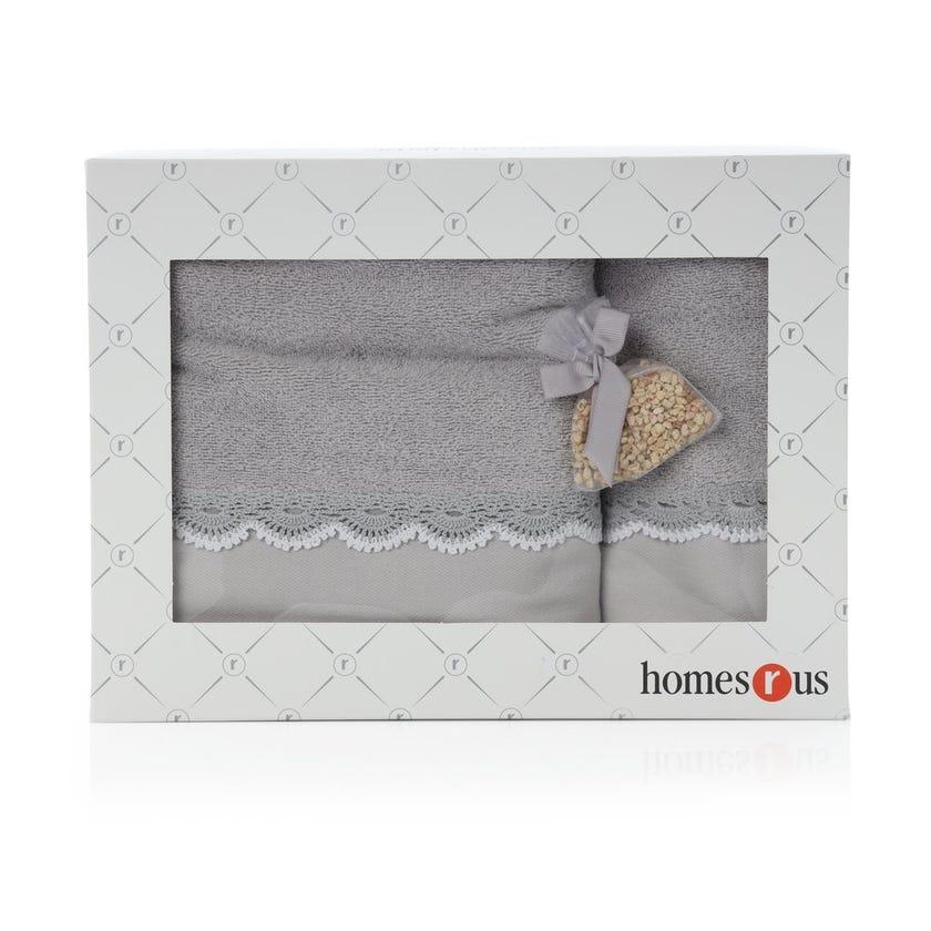 Lace Bath Towels Gift Box Set, Grey