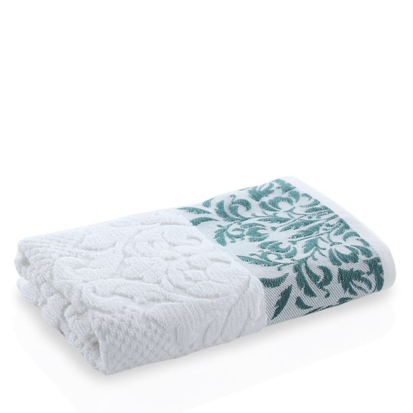Valley Hand Towel, White and Green