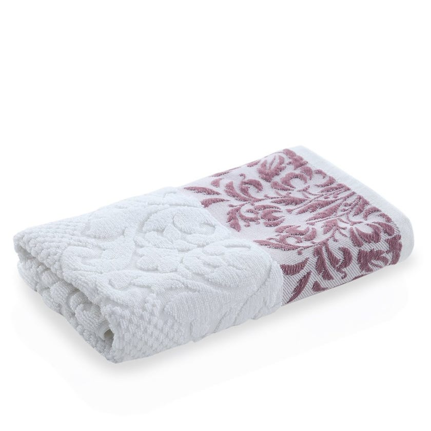 Valley Hand Towel, White and Mauve