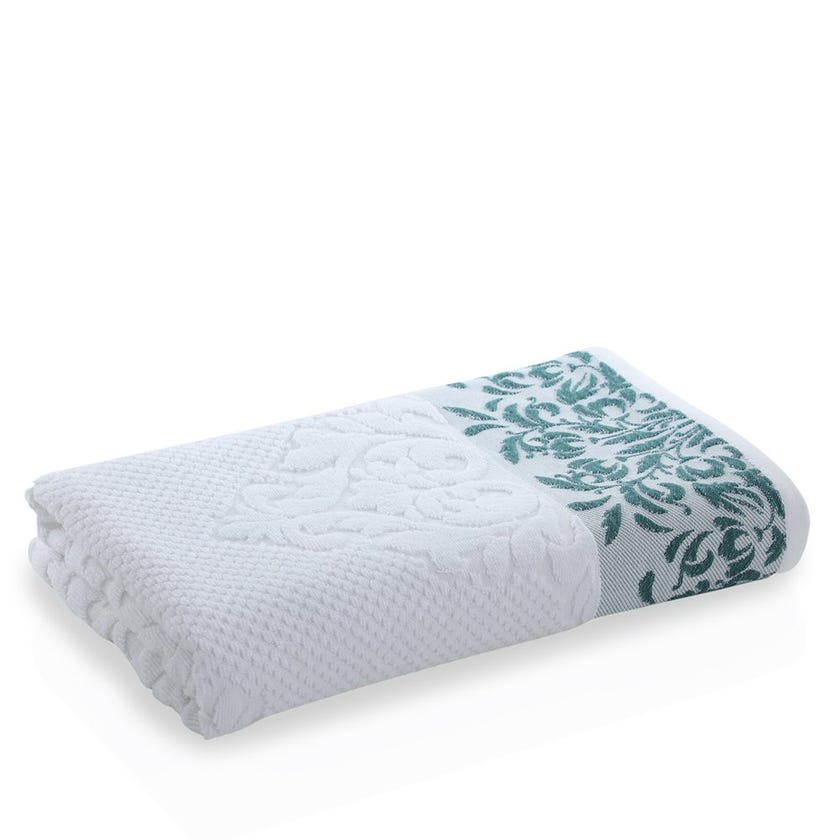 Valley Bath Towel, White and Green
