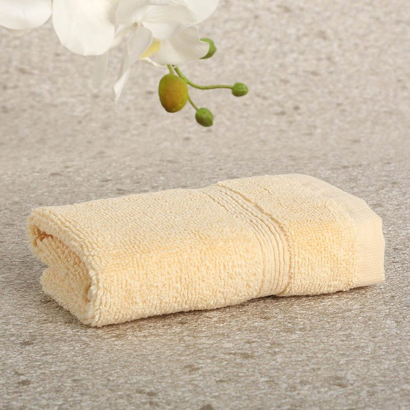 Ritzy Cotton Face Towel, Butter - 30x30 cms