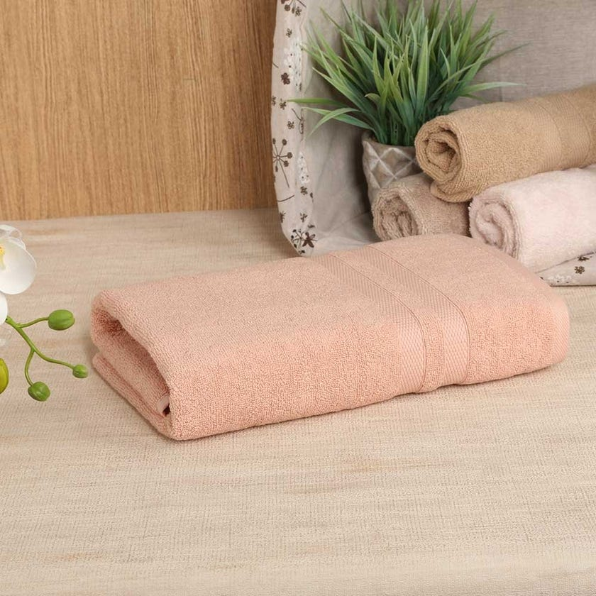 Antibacterial Bath Towel, Peach – 135x65 cms