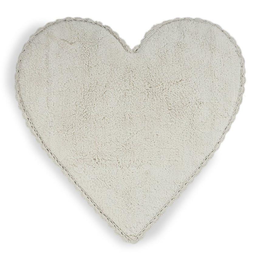 Amor Heart Bath Mat, Beige - 80x80 cms