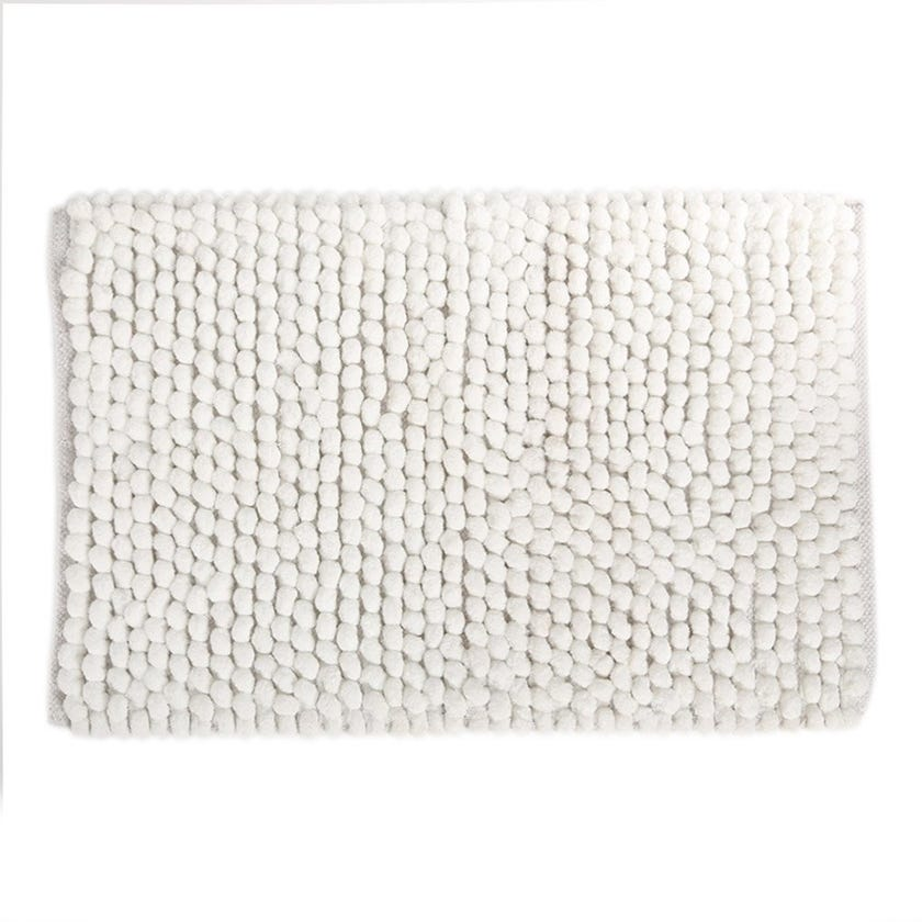 Micro Popcorn Rug, White - 80x50 cms