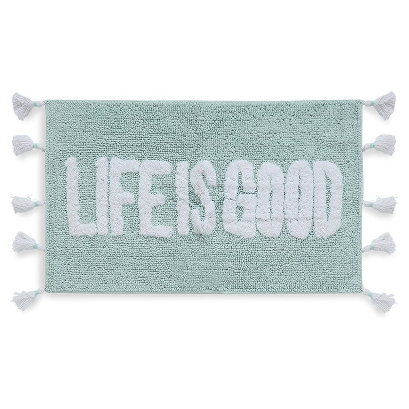 Life is Good Bathmat, Teal and White, 80 x 50 cms