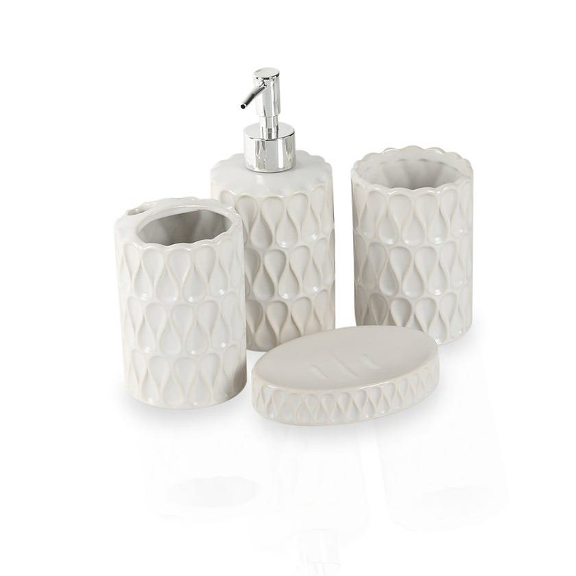 White Drop 4-piece Bath Accessories Set