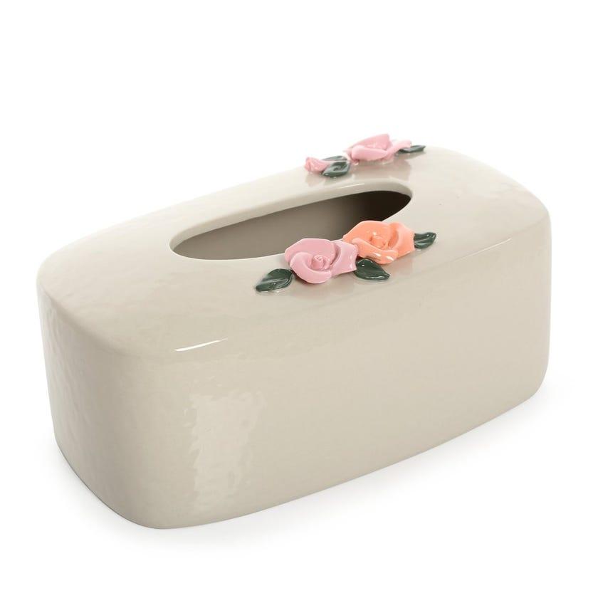 Earthenware Floral Ceramic Tissue Box