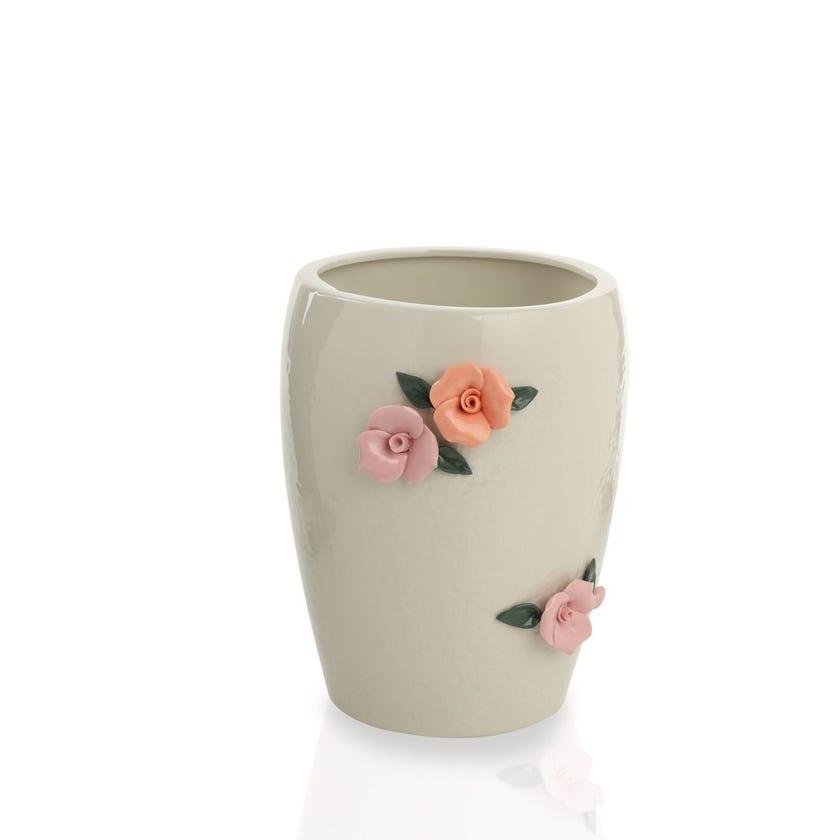Earthenware Floral Ceramic Waste Bin