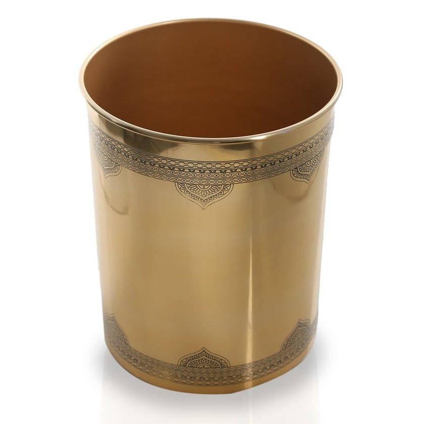 Durbar Waste Bin, Antique Brass