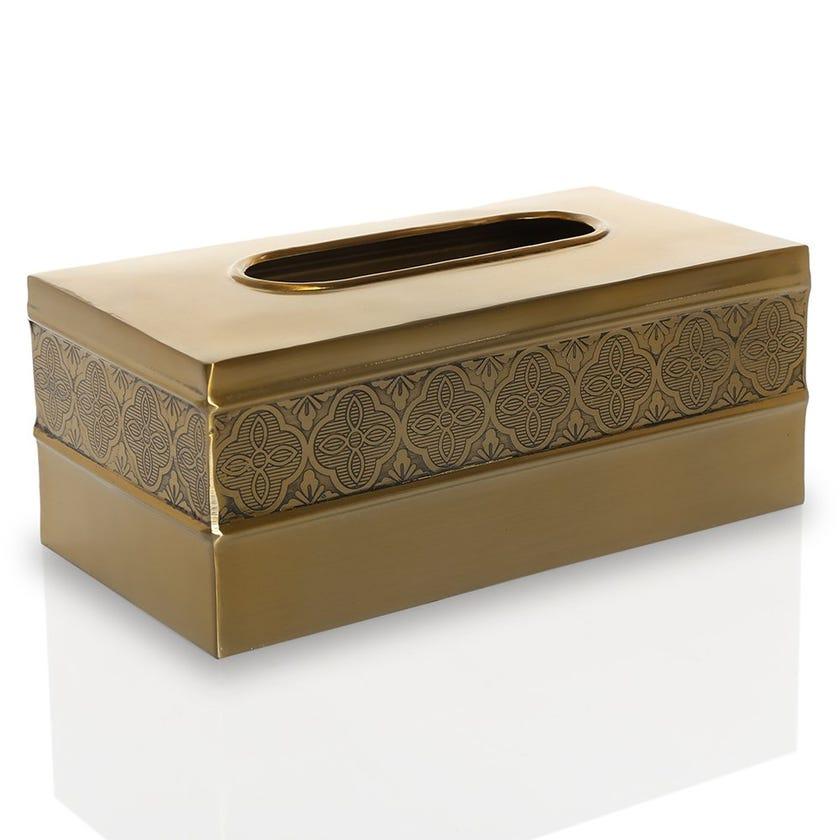 Zurin Tissue Box, Brushed Gold