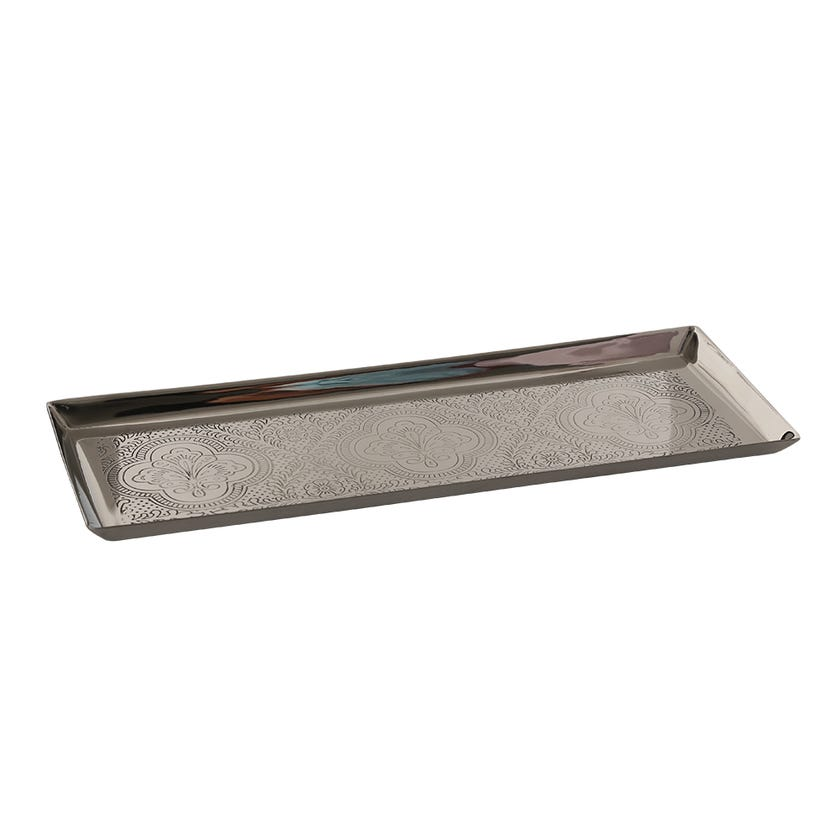Etched Tray, Antique Silver