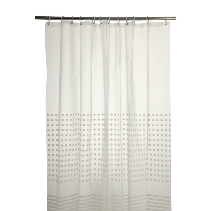 Dots Striped Peva Shower Curtain (180 x 180 cms, White)