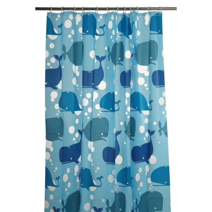 Shark Peva Shower Curtain (180 x 180 cms, Blue)