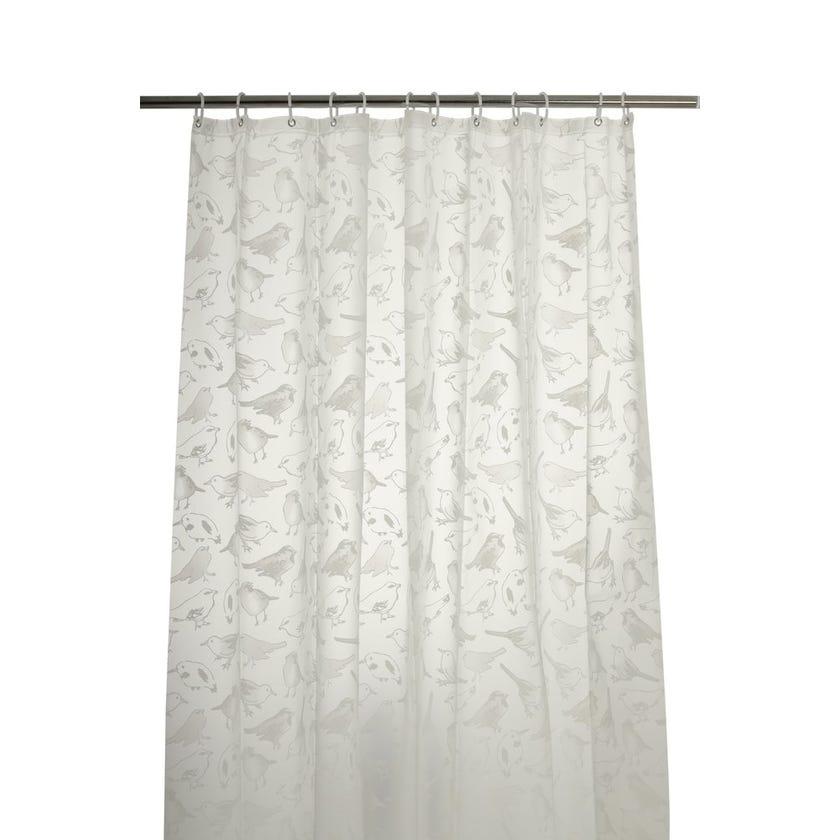 Lovely Birds Peva Shower Curtain (180 x 180 cms, Grey)