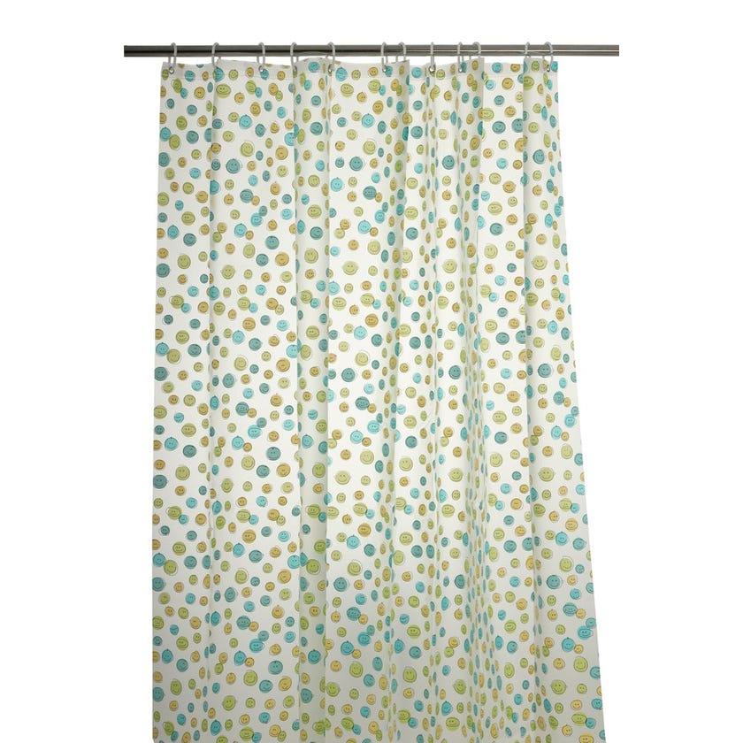 Happy Faces Peva Shower Curtain (180 x 180 cms, Blue)