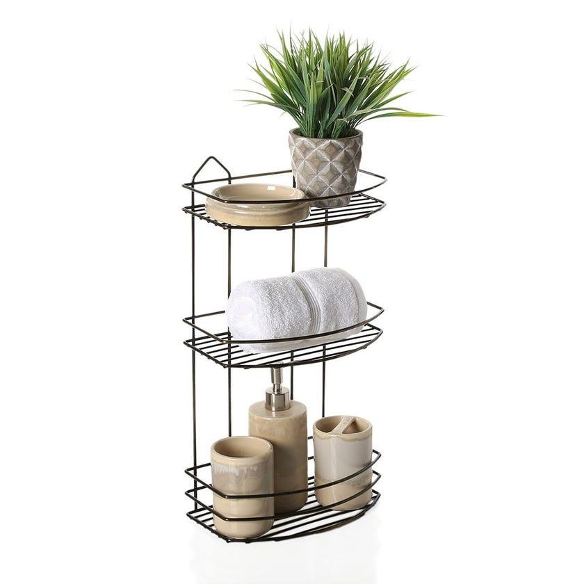 3-Tier Bath Shelf, Antique Chrome – 50 cms