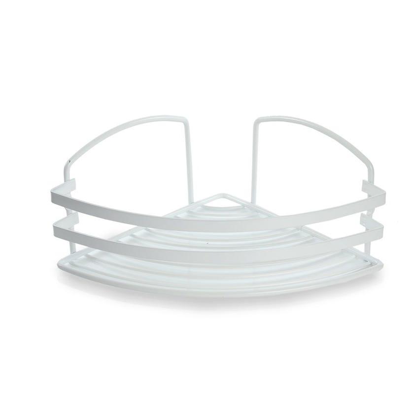 Stainless-Steel Bath Corner Shelf, Matte White