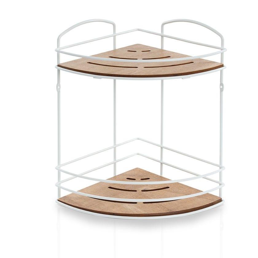 Wooden 2-Tier Bath Corner Shelf, Matte White