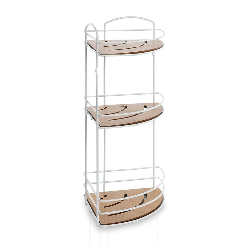 Wooden 3-Tier Bath Corner Shelf, Matte White