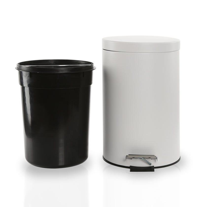 Stainless Steel Bin, White - 12 Litres