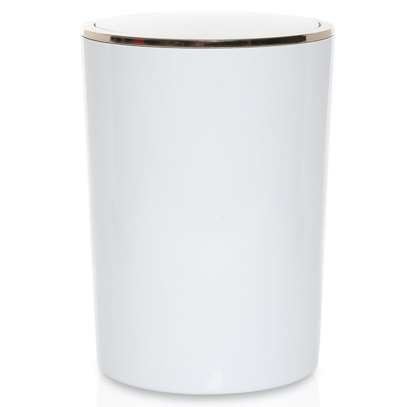Lenox Waste Bin, White and Gold -  6 Litres