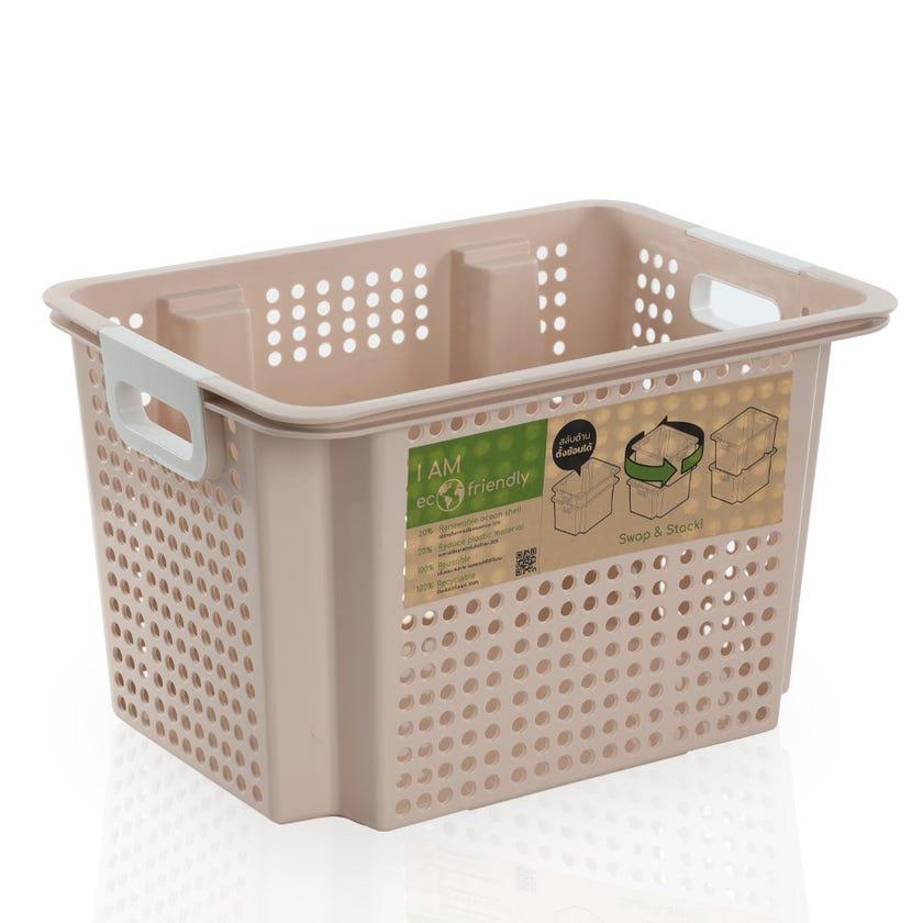 Stackable Laundry Basket, Beige- Medium