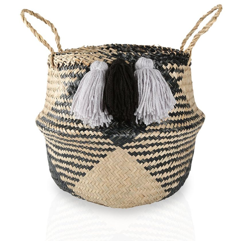 Seagrass Woven Basket with Pompom Detail (Natural/Black, Small)