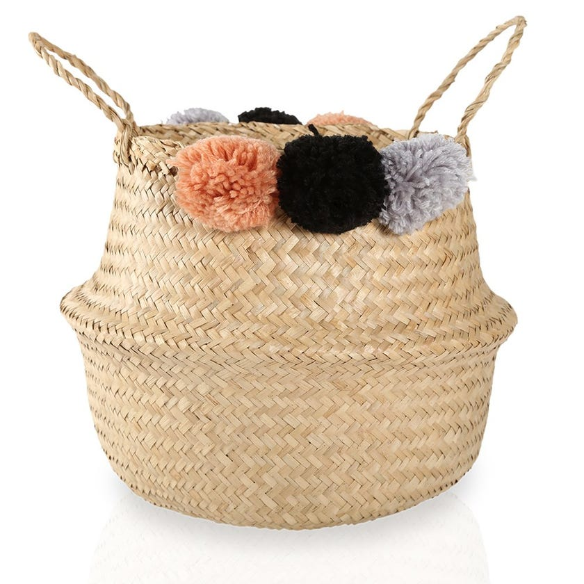 Seagrass Woven Basket with Pompom Detail (Natural, Small)