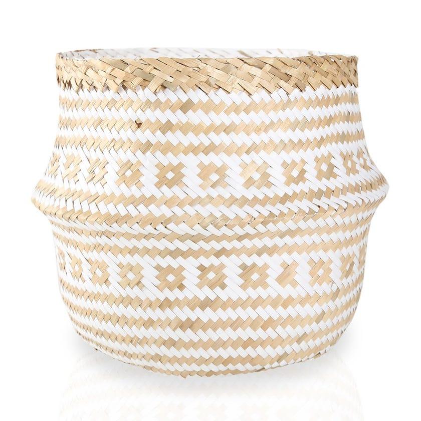 Seagrass Round Storage Basket (Natural/White, Small)