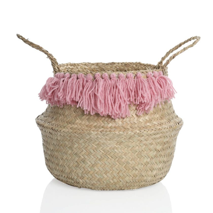 Seagrass Woven Basket with Tassels (Natural, Small)