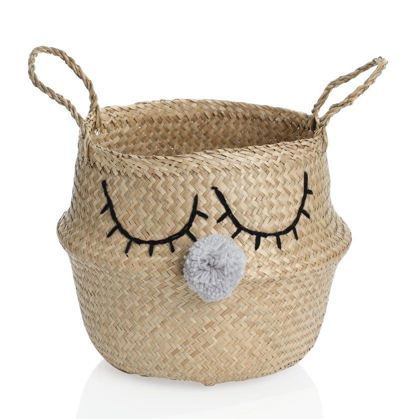 Seagrass Woven Unicorn Storage Basket, Natural